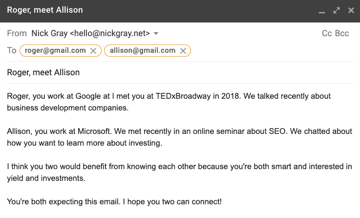screenshot of a sample email message draft of how I would introduce two people via email