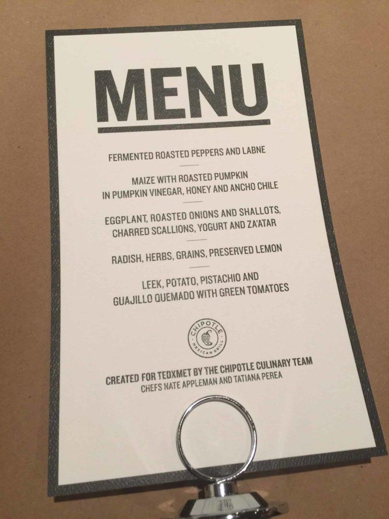 the custom Chipotle menu at TEDxMet
