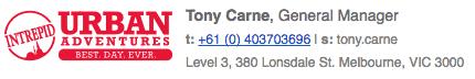 Tony Carne at Urban Adventures signature