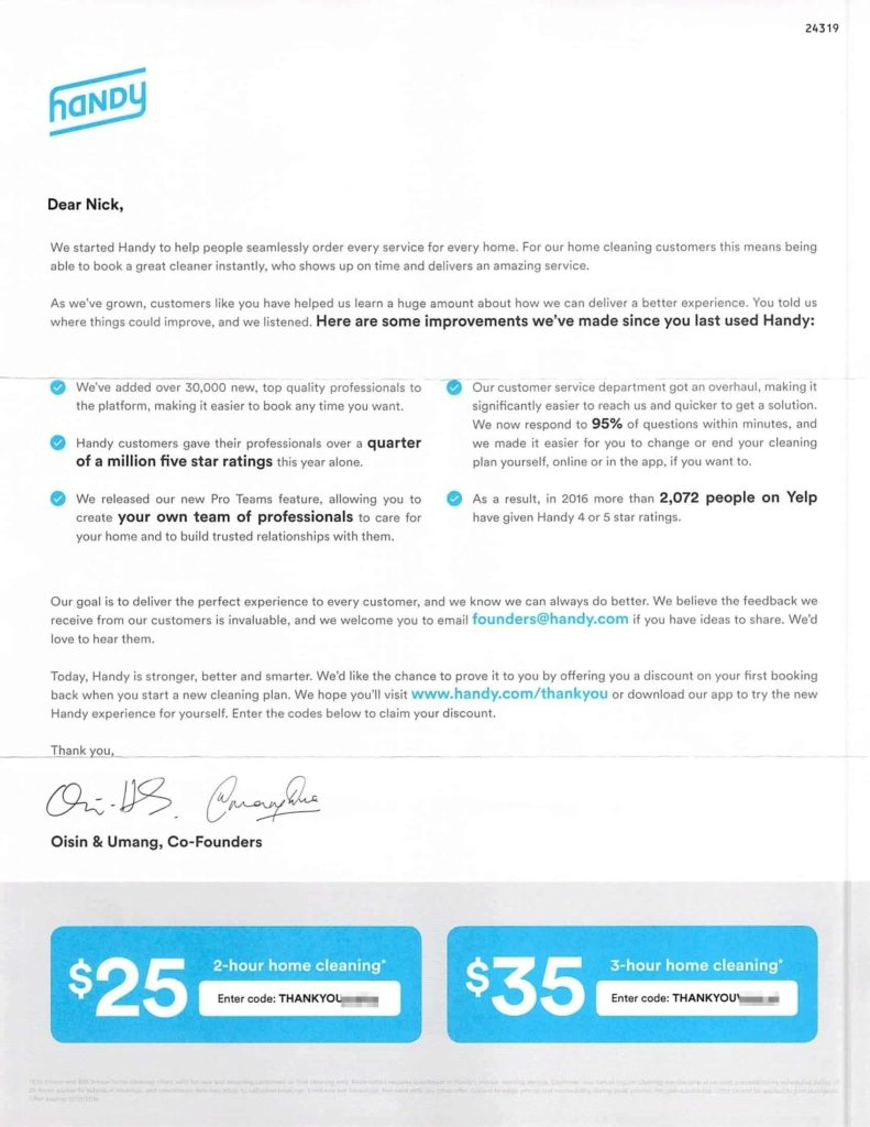 Marketing direct mail letter from Handy founders