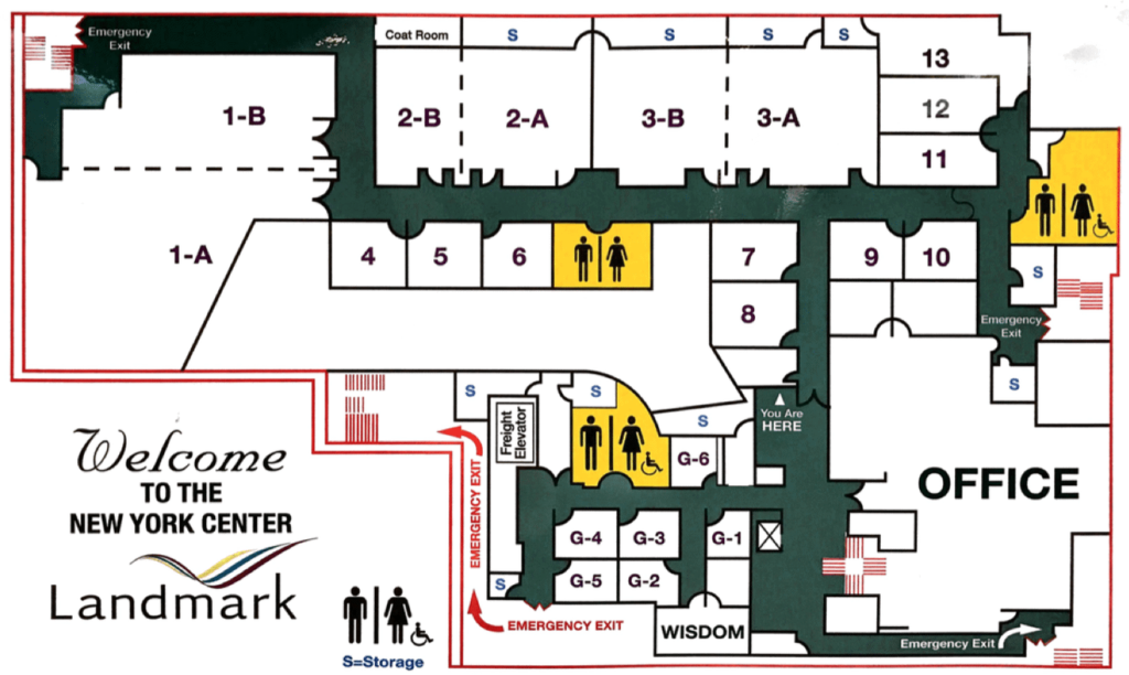 Floor plan of the Landmark headquarters in New York City. The Forum was held in 1-A and 1-B.