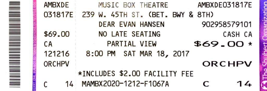 Dear Evan Hansen ticket on Broadway