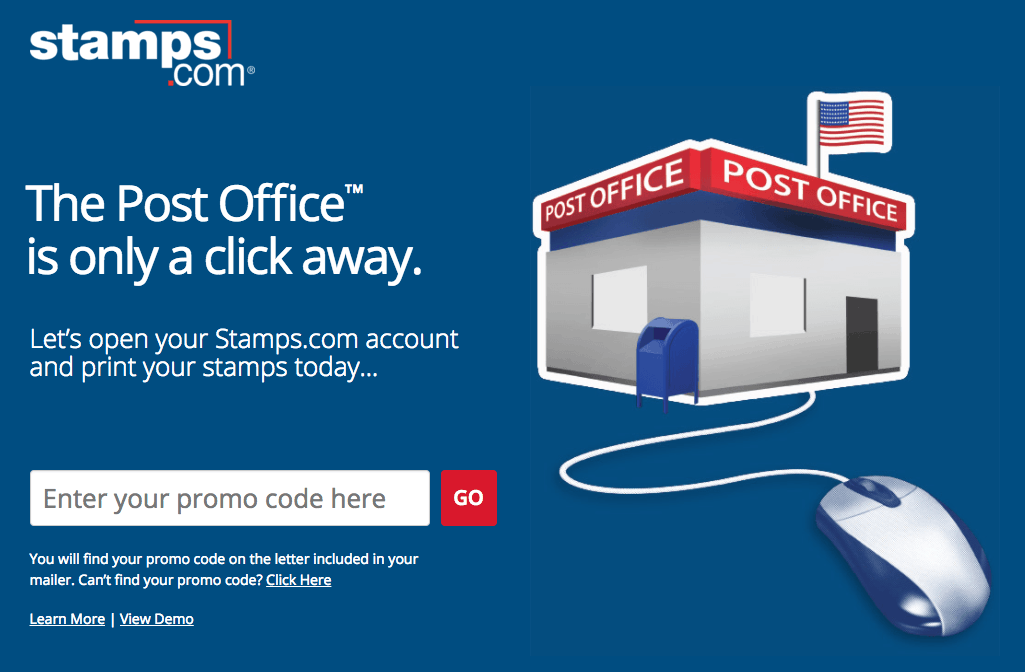 """Stamps.com image says """"The Post Office is only a click away"""""""