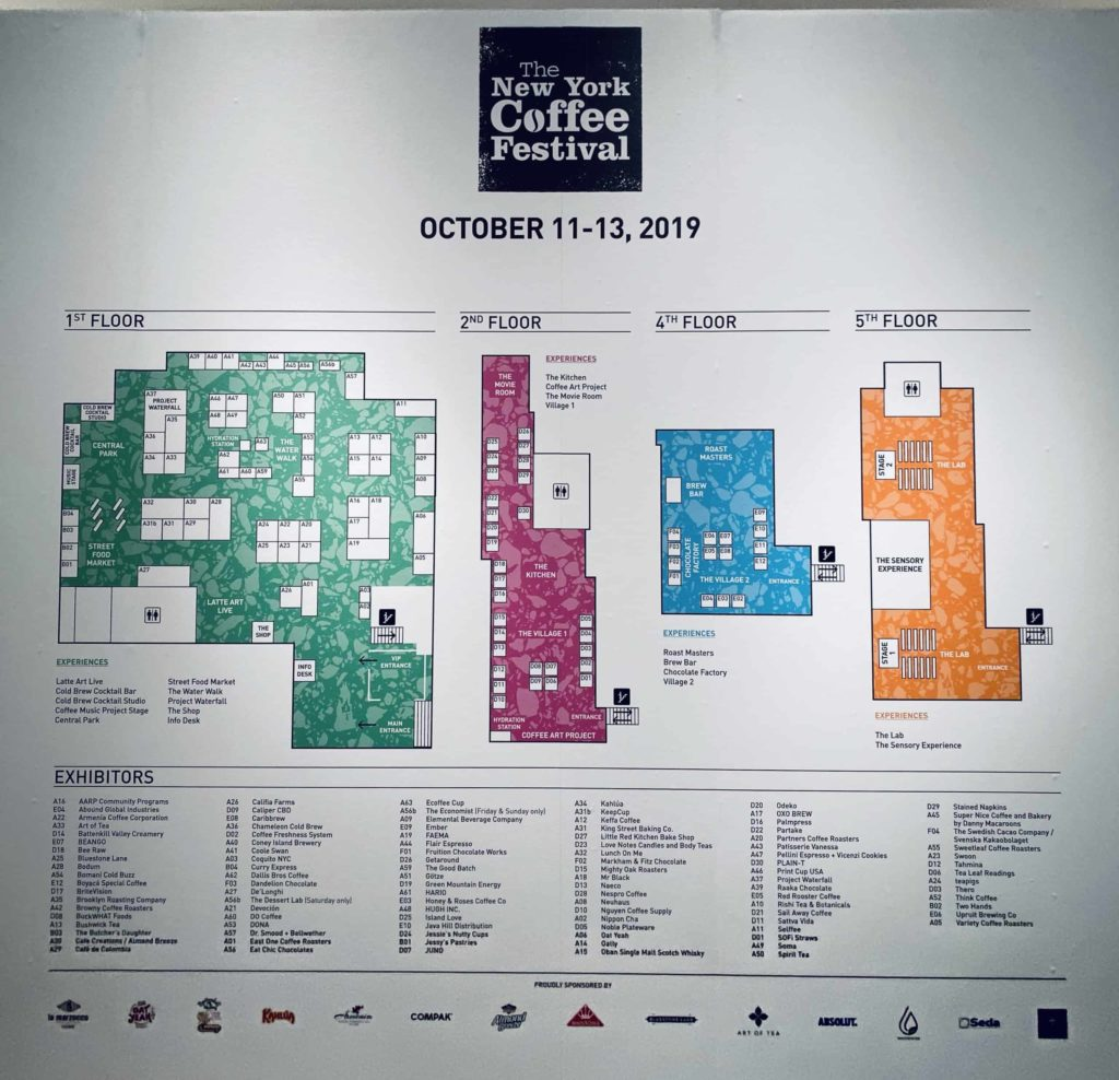 Map showing the New York Coffee Festival 2019