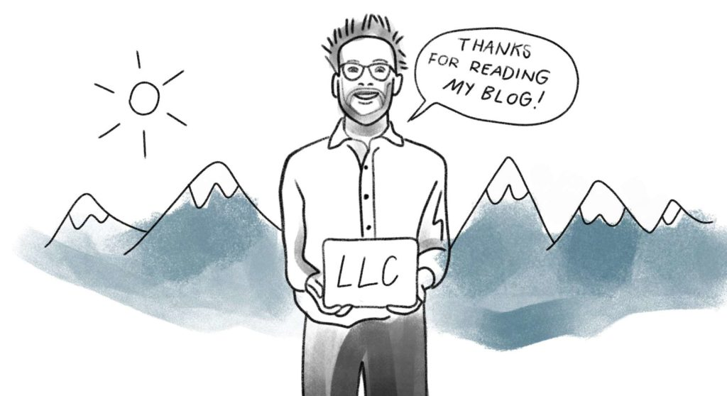Cartoon version of me, in front of mountains, holding an LLC cert
