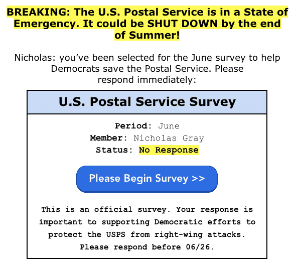 Screenshot of an email, headline is highlighted in yellow and says BREAKING: The U.S. Postal Service is