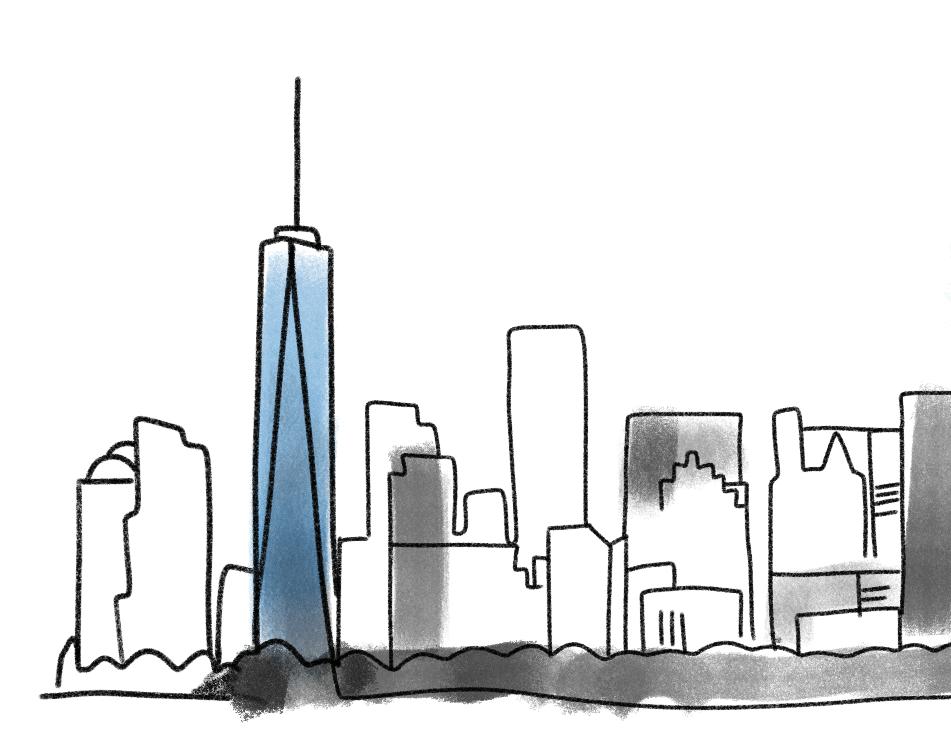Cartoon of skyline featuring 1 World Trade Center