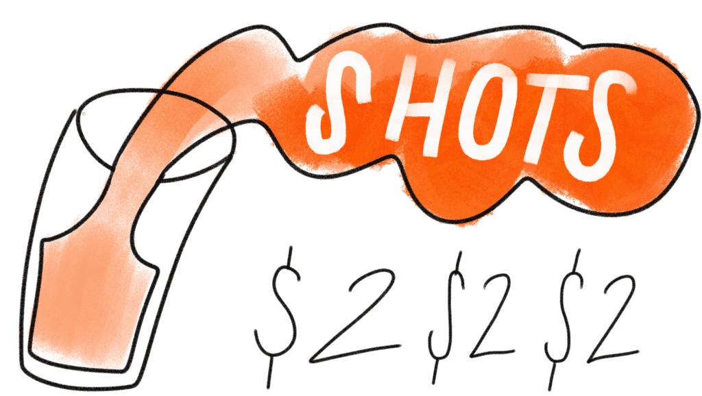 cartoon says SHOTS and two dollars