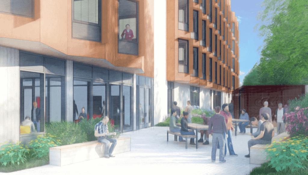 Cartoon-looking rendering of outdoor Santa Cruz development from New Way Homes