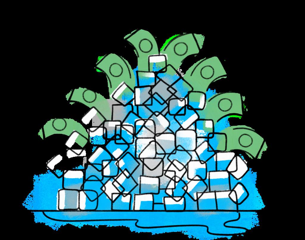 cartoon drawing of ice cubes and dollar bills