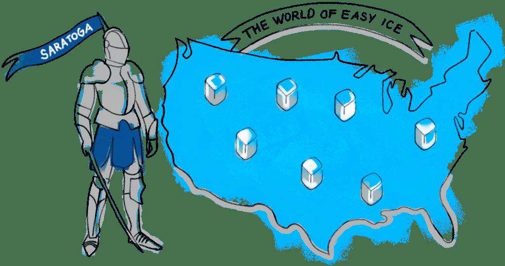 cartoon of Saratoga knight near USA and Easy Ice machines