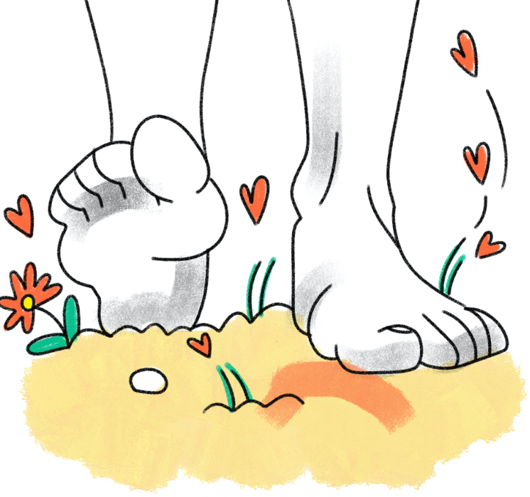cartoon of foot walking in peaceful natural nature environment