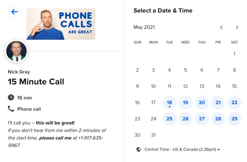 screenshot of Calendly calendar page for Nick Gray